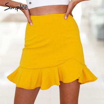 Simplee Cross ruffles hem high waist mini skirts red slim women skirt pencil white trumpet skirt plus size summer