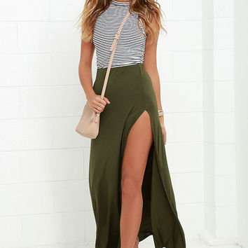 Maracas and Cabasas Olive Green Maxi Skirt