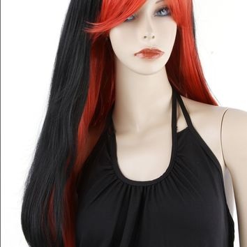 Black To Red Ombre Wig, Medium Length Soft Layers for Daily Use or Cosplay