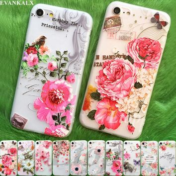 EVANKALX 3D Relief TPU Phone Case For iPhone 5s 5 SE 6 6s X 8 6/7/8 Plus Ultra-thin Scrub Silicone Soft Cases For iPhone 7