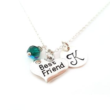 Best Friend Heart Charm Personalized Initial Sterling Silver Necklace