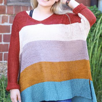 {Rust} Color Blocked Wide Knit Sweater