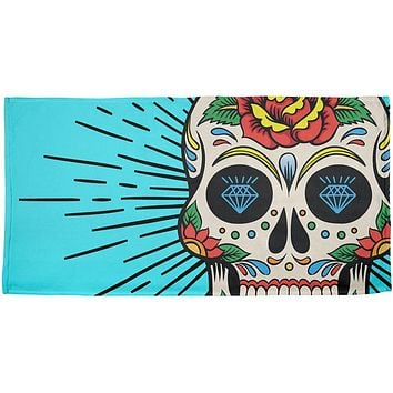 Sugar Skull All Over Beach Towel