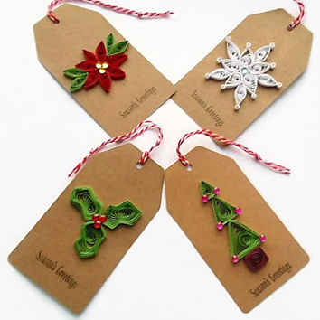 Christmas gift tags, Christmas tags, gift tags, quilled gift tags, quilled Christmas tags, holiday gift tags, gift wrapping, Xmas tags