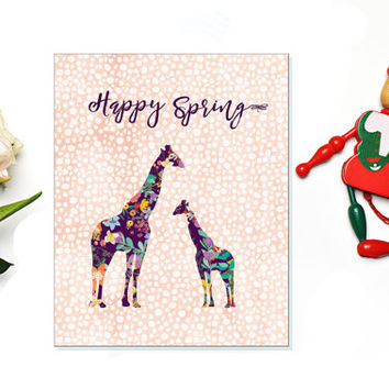 Happy Spring Colorful Floral Giraffe  Printable Easter Sign Easter Print  spring party decor Easter wall art