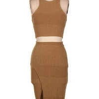 Ripped Knit Cropped Skirt Set