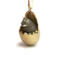 Vintage Silver and Gold Tone Chick Hatching from Egg Pendant Necklace - Whimsical Cute Funny Jewelry - Chicken Baby Bird Necklace