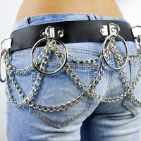 Black Leather Chain O Ring Bet Gothic Fetish Style