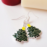 Holiday Special Christmas Tree Earrings, Christmas Holiday Earrings, Silver Green Metal Tree Earrings, Winter Dangle, Jewelry Gift Under 20