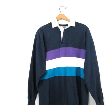 Vintage 1980s Savile Rows Rugby Shirts Striped Rugby Collar Long Sleeve Polo Shirt Sz M