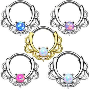 Alisouy 1 Piece Opal Nose Ring Hoop Tribal Leafs Captive Bead Ring Clicker Septum Cartilage Earring Lip Piercing Body Jewelry
