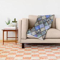 Faux Patchwork Quilting - Blues Throw Blanket by gx9designs