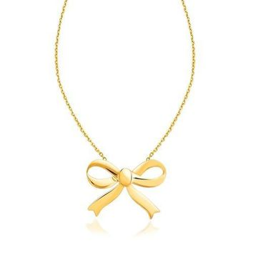 14k Yellow Gold Bow Necklace, size 18''