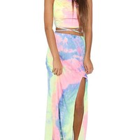 Mink Gal Women Tie Dyed Crop Tops Strapless Shorts Long Dresses Sexy