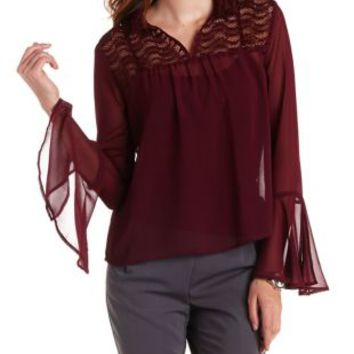 Wine Sheer Blouse with Lace Yoke by Charlotte Russe