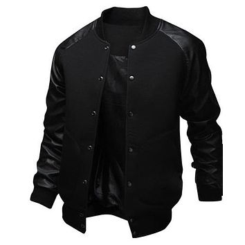 New Men's Leather Jacket Big Size Slim Baseball Hoodies Sweatshirts