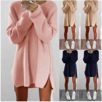 New Women O-neck Long Sleeve Sweater Dress Warm Knited Woolen Dresses with Zipper Fashion Autumn Winter Clothes +Free Christmas