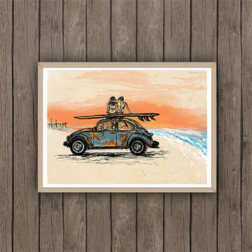 Beetle VW on beach