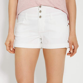 high rise shorts in white | maurices