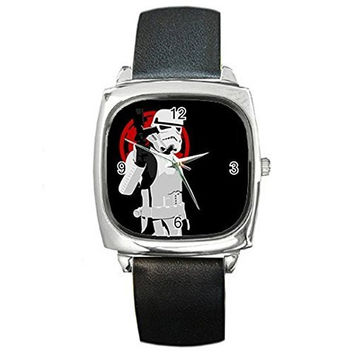 "Star Wars ""Storm Trooper"" on a Silver Square Watch with Leather Band"
