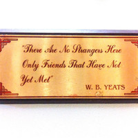 W.B. Yeats quote gold and wood plaque / art deco home / classic literature poetry
