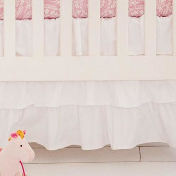 Crib Skirt | White Ruffled 3 tier Waterfall