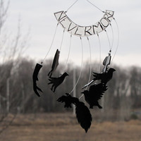 Recycled plastic wind chime - Poem The Raven silhouette nevermore black bird wind chime.
