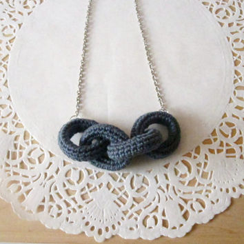 Chain reaction, crochet chain necklace.Concrete grey cotton yarn