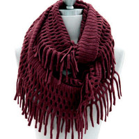 Fringe Knit Crochet Infinity Scarf-Burgundy Dark Red