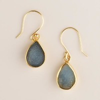 Gray Druzy Gold Drop Earrings