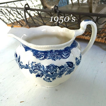 Johnson Brothers Persian Tulip Pitcher, Vintage 1950's Creamer, Blue and White China Milk Pitcher, Vintage Kitchen, Shabby Chic Decor