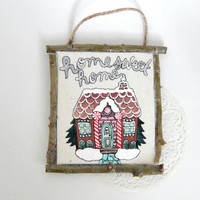 Holiday Wall Plaque // Gingerbread House // Home Sweet Home // Rustic Christmas Decor // Hand-Painted Wall Art //  Upcycled