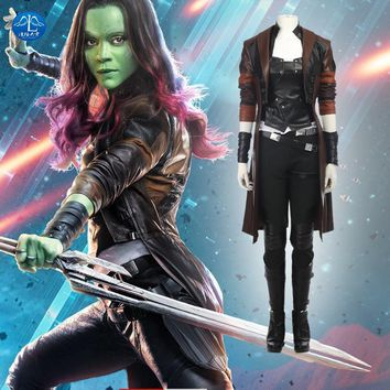 MANLUYUNXIAO Guardians of The Galaxy 2 Cosplay Costume Gamora Cosplay Costume Full Set Gamora Costume For Halloween Custom Made