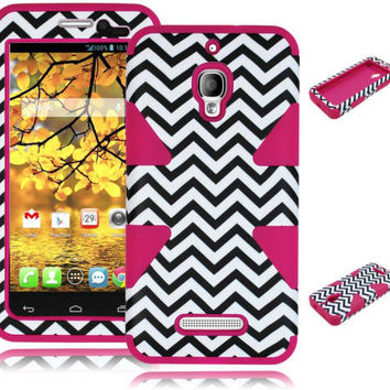 Alcatel One Touch Fierce 7024T Hybrid Chevron Case + Pink Silicone Cover