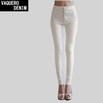 High Waist Jeans Woman 2017 Special Offer American Apparel Skinny Denim Women Pants Twill White & Black Slim Fit 20001