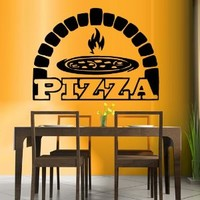 Wall Decal Vinyl Sticker Decals Art Decor Design Pizza interior Pizzeria Resaurant Italy Kitchen Food inscription signboard Fun M1526