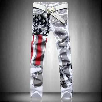 New Arrival Men Casual American USA Flag Printed Jeans Pants Mens Graffiti Print white hip-hop fashion Jean Slim Fit Trousers