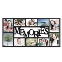 "Adeco Decorative Black Plastic ""Memories"" Wall Hanging Collage Picture Photo Frame, 10 Openings, 4x6"", 5x7"""