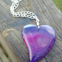 Agate heart pendant. Dragons veins agate. Purple agate necklace. Gemstone pendant. Large heart pendant. Valentine day necklace. Gift for her