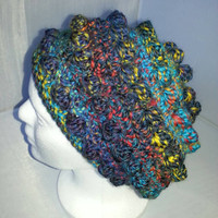 Multicolored Crocheted Woolen Bubble Beret Slouch Hat