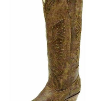 MDIGYW3 Corral Vintage Brown Tall Inlay Western Boots R2295