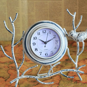 Retro Vintage Metal Tree Branch Bird Clock Shabby Home Decor Table Clock Ornament