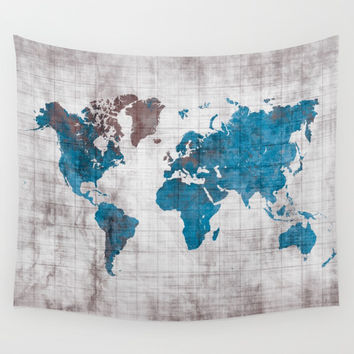 world map 96 blue #worldmap #map Wall Tapestry by jbjart