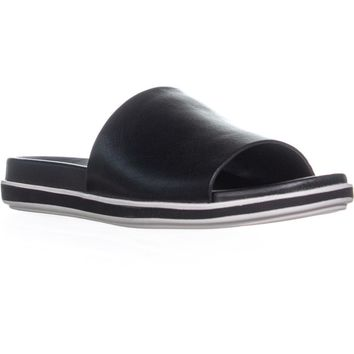 Franco Sarto Cameo Flat Slip On Slide Sandals, Black, 12 US / 42 EU