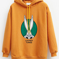 Yellow Hooded Drawstring Rabit Printed Thick Sweatshirt