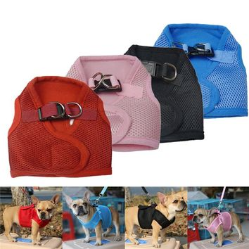 Adjustable Soft Breathable Dog Harness Nylon Mesh Vest Harness for Dogs Puppy Cat Collar Pets Chest Strap Leash Set 13 Colors