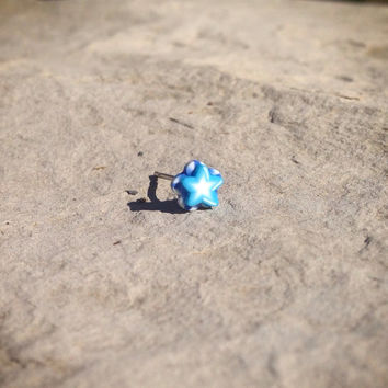 Blue on blue Star Surgical Steel Stud Earring. Perfect for Helix and Cartilage Piercings.