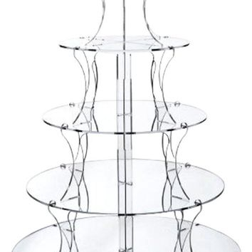 Jusalpha 5 Tier Round Elegant Crystal Clear Acrylic Wedding Cupcake Stand Tower/ Cake Stand/ Pastry Serving Platter (5ZJ R)