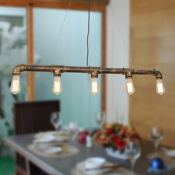 Vintage Metal Water Pipe Pendant Light With 5 Lights