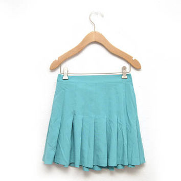 80s Teal Pleated Tennis Skirt Women's Size 6 Small